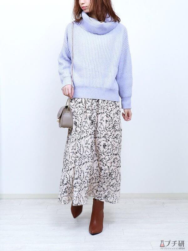 【ブルーコーデコーデ】アイスブルーニットで魅せる春コーデ♪ボトムは花柄ロングスカートで大人の甘さを