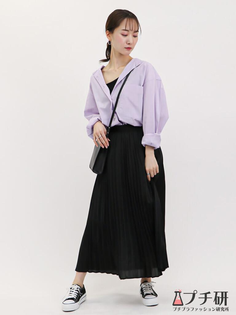UNIQLO Uオーバーサイズシャツプリーツスカートで作る綺麗めカジュアルコーディネート
