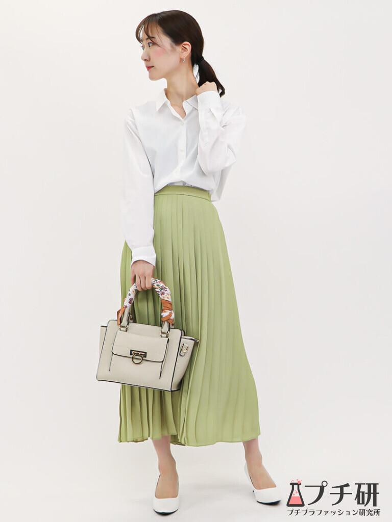 【pleatedskirtコーデ】春カラープリーツスカートとシャツで作るオフィスコーディネート